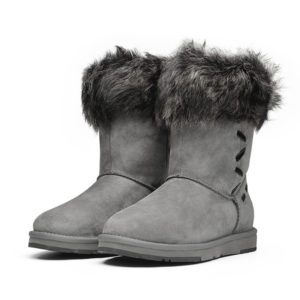 picture of 2 grey australian winter boots sitting next to each other with a white background
