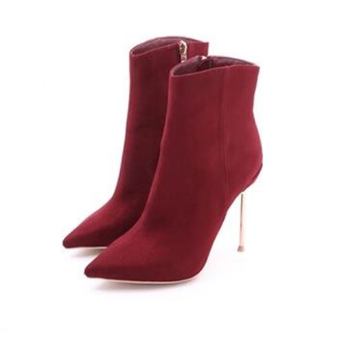 picture of win red sexy pointed toe boots with metal high heel from the front right view