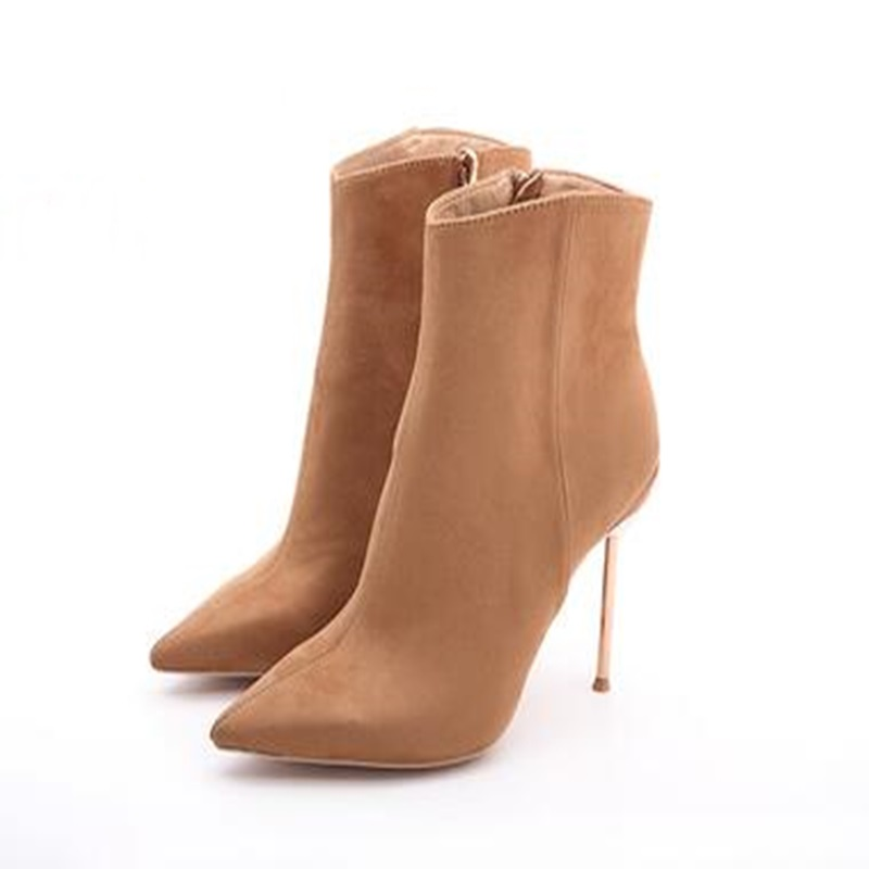 picture of beige sexy pointed toe boots with metal high heel from the front right view