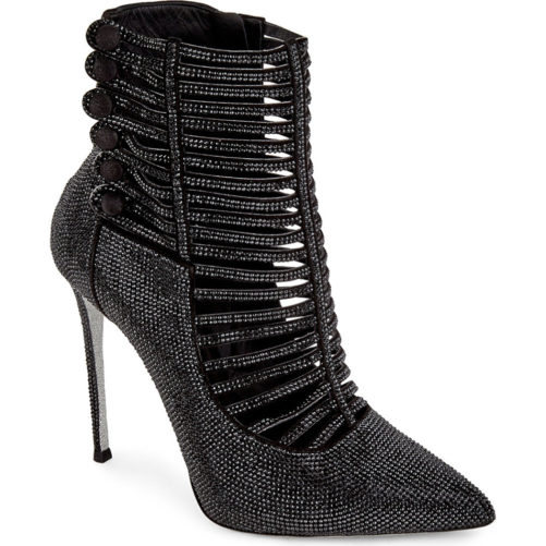 picture of luxury black bedazzled high heel boots from the front left angle