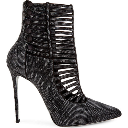 picture of the side of our black luxury bedazzled high heel boot for womens fashion