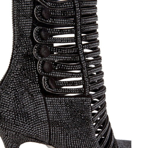 picture of a close up for the black luxury bedazzled high heel boot womens fashion