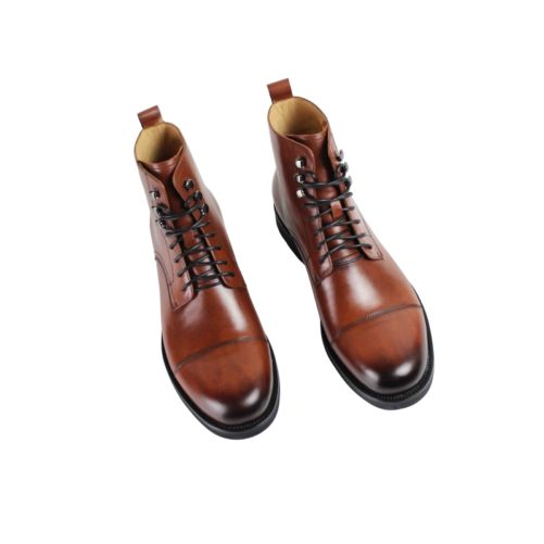 picture of 2 handmade dapper leather boots from the birds eye view