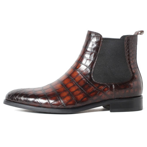 picture of handmade crocodile skin chelsea boots from the side of them wine red appearence
