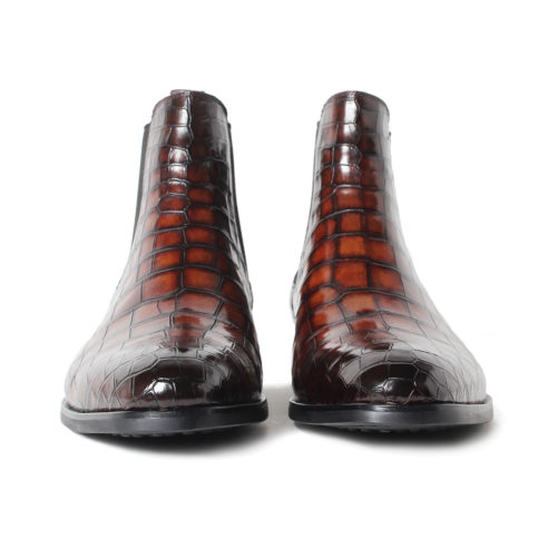 picture of 2 handmade crocodile skin chelsea boots from the front