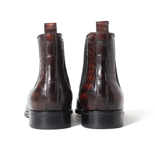 picture of handmade crocodile skin chelsea boots from the back side of the boots