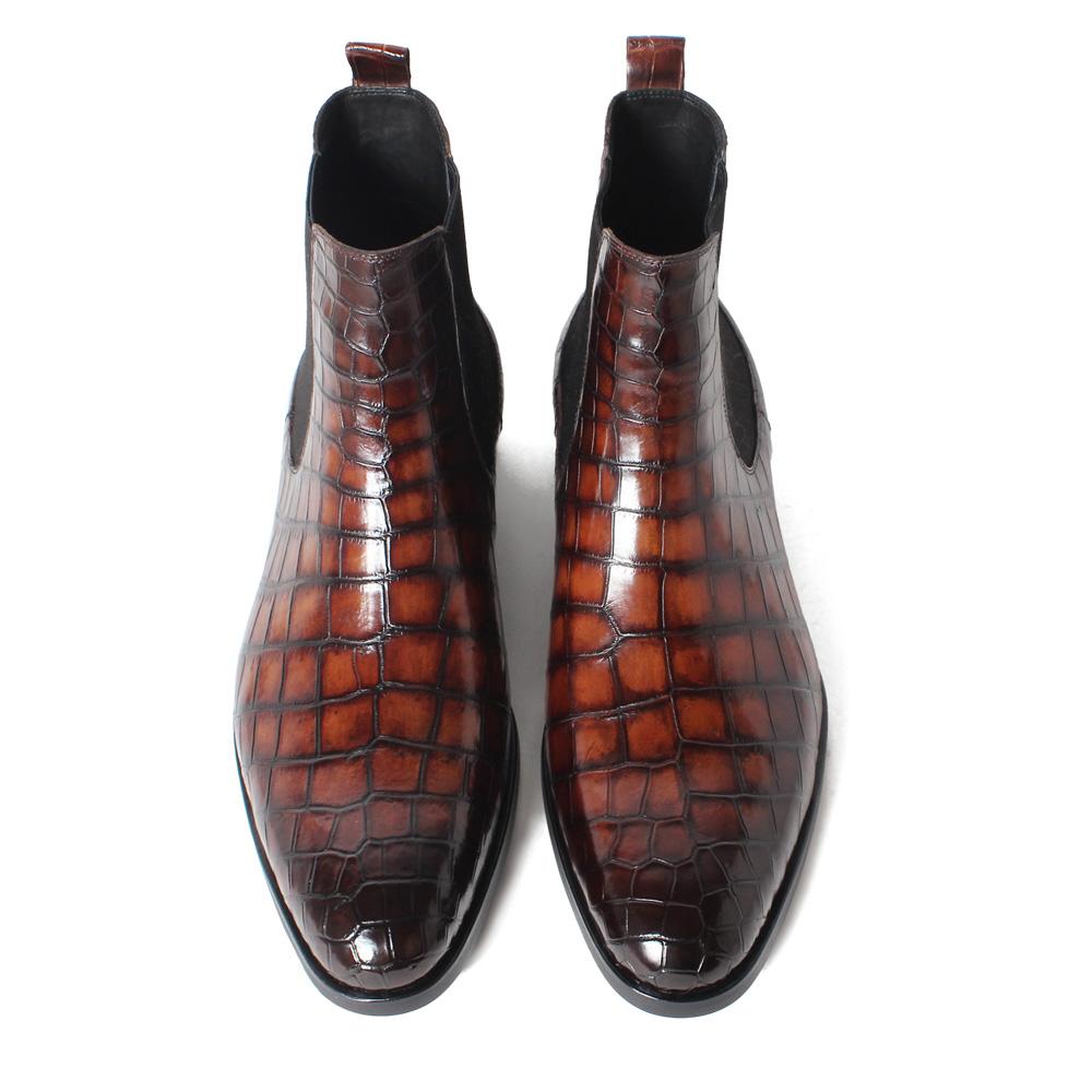 af55c8d4ef9 Handmade Crocodile Skin Chelsea Boots