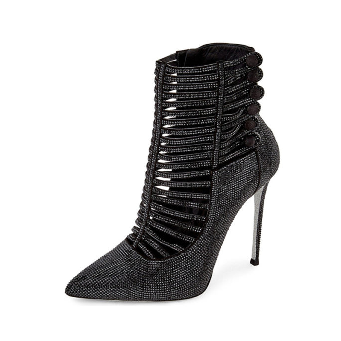 picture of black luxury bedazzled high heel boots with rhinestones covering the outside of the high heel fashion boot