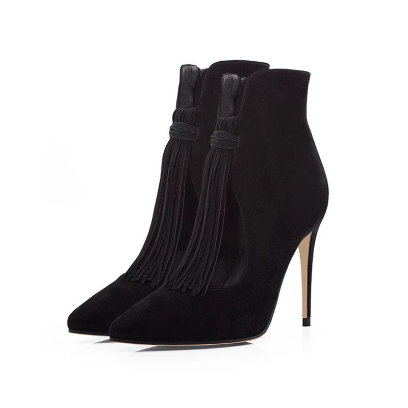 picture of 2 elegant suede pointed toe ankle boots with fashion tassle from the front right angle