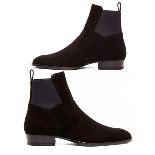 picture of both sides of the kanye west style chelsea boots on top of each other