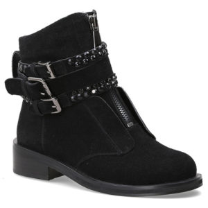 picture of the black suede motorcycle punk style boots with straps