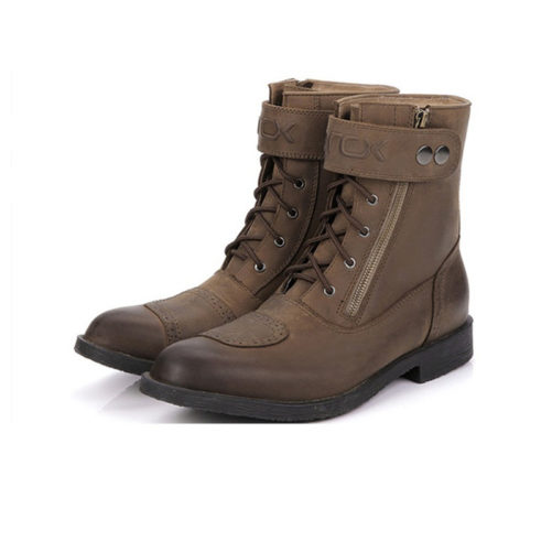 picture of 2 brown motorcycle biker boots with zipper and buckle from the side angle