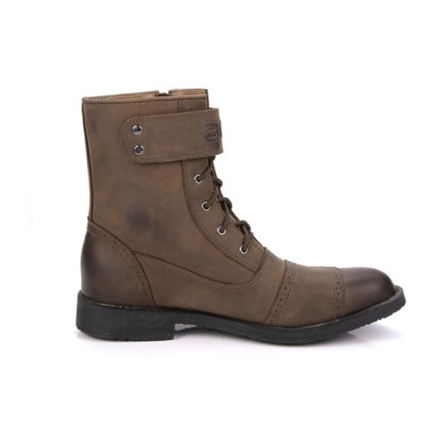 picture of a brown motorcycle biker boot from the side