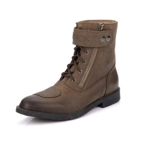 picture of a brown motorcycle bikers boots with a zipper and buckle on the top