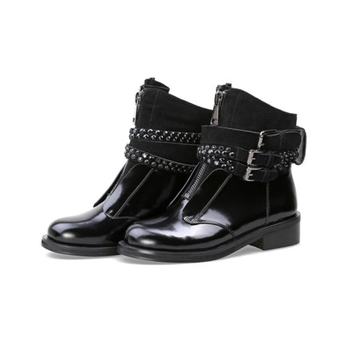picture of 2 black motorcycle punk style boots with buckles on them from the right view