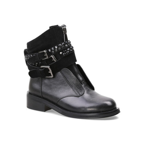 picture of black sheepskin motorcycle punk style boots from the left side