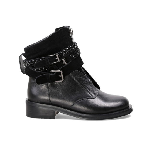 picture of the black motorcycle punk style boots with straps from the side view