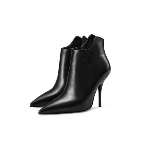picture of 2 pointed toe high heel ankle boots with side zipper that are black