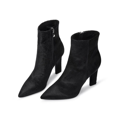 picture of womens sexy high heel leather ankle boots with zipper on the side that are black leather