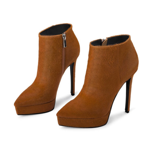 picture of sexy high heel autumn ankle boots that are caramel colored