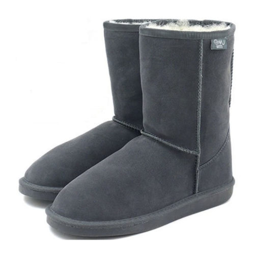 picture of charcoal australian inner wool winter boots from the side that are charcoal colored