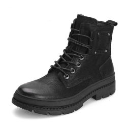 black leather winter ankle boots for high fashion