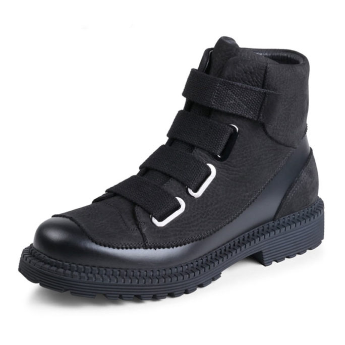 picture of black leather high top combat boot shots with fashion straps on the front of them