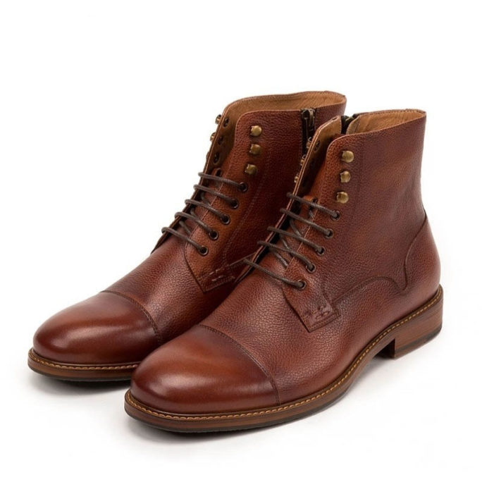 picture of retro british stylish ankle boots that are brown