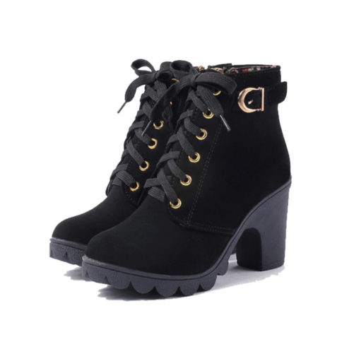 casual ankle boots with platform high heels that are black