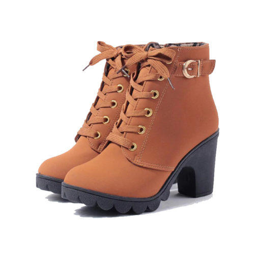 casual ankle boots with platform high heels that are orange