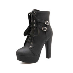 high platform heel ankle boots with buckle that are black