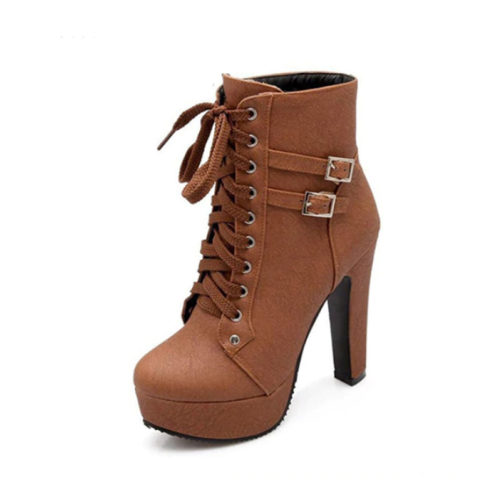 high platform heel ankle boots with buckle that are brown