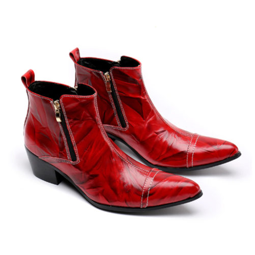 red and black cowboy boots with zippers on the side to zip up