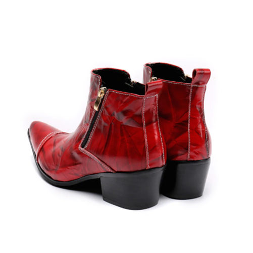 red and black cowboy boots with a pointed tow and high heel