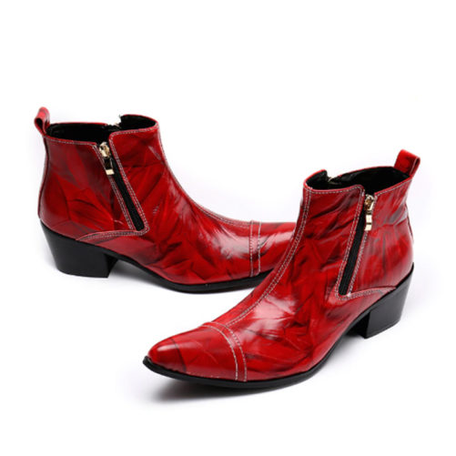 red and black cowboy boots with high heel and fashion zipper