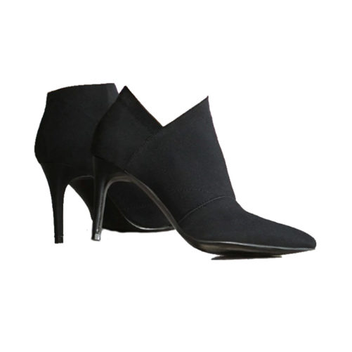 sexy leather pointed toe ankle boots that are black