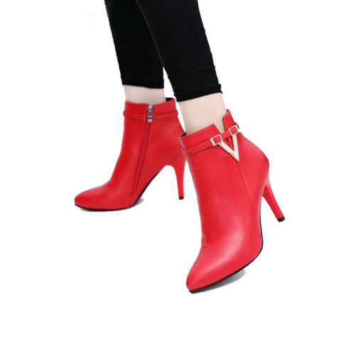 picture of a girl wearing sexy stiletto high heel ankle boots with a v buckle that are red