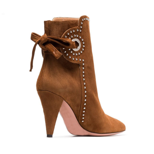 chunky heel western classy ankle boots with elegant look and tie in the back of the boot