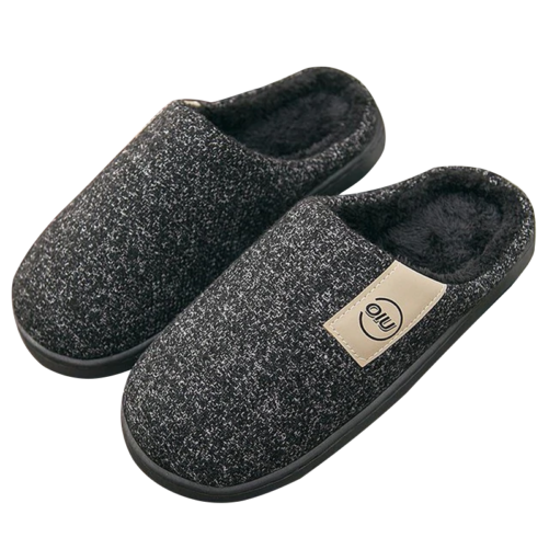 classic pattern women fur slippers black