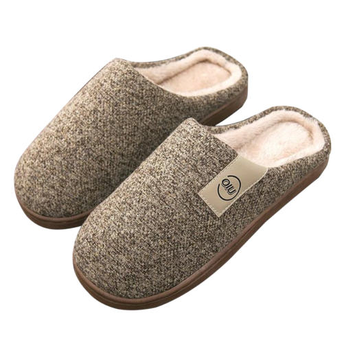 classic pattern women fur slippers coffee