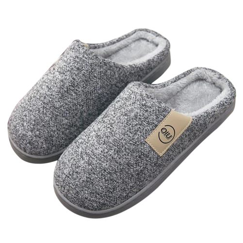 classic pattern women fur slippers gray