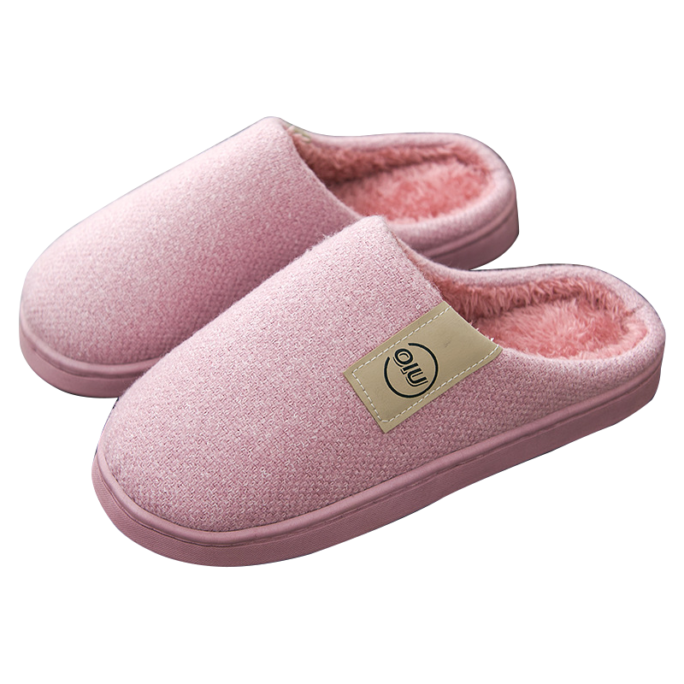 classic pattern women fur slippers pink