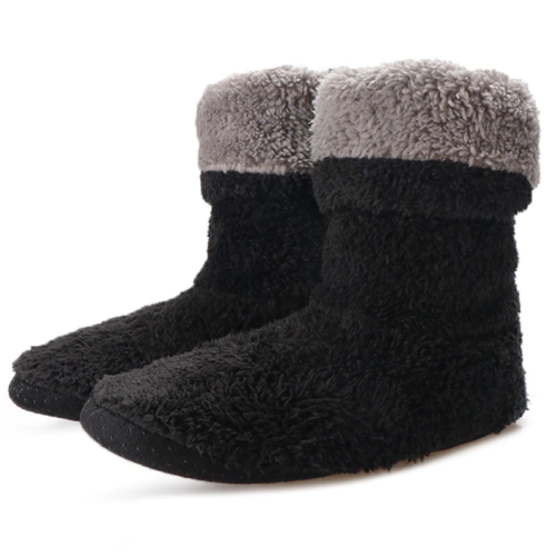 cozy indoor fuzzy ankle boot slippers black