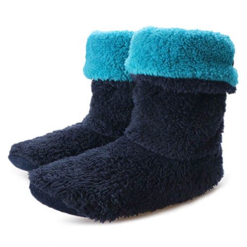 cozy indoor fuzzy ankle boot slippers blue