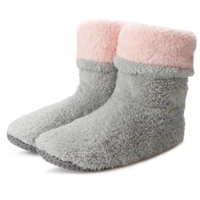 cozy indoor fuzzy ankle boot slippers gray