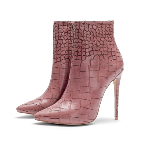 italian designer pencil heel stiletto ankle boots in pink from the side