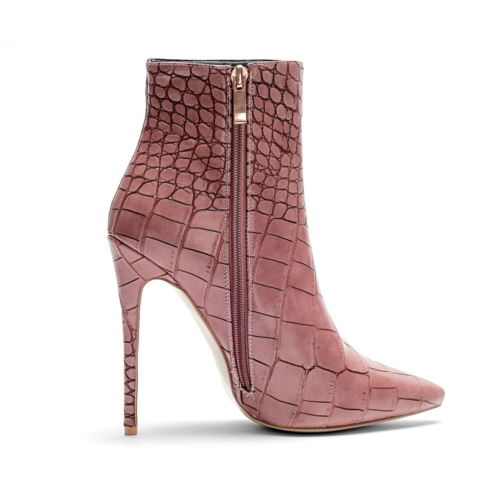 italian designer pencil heel stiletto ankle boots in pink from the side showing the zipper
