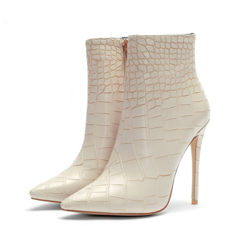 italian designer pencil heel stiletto ankle boots in white from the side