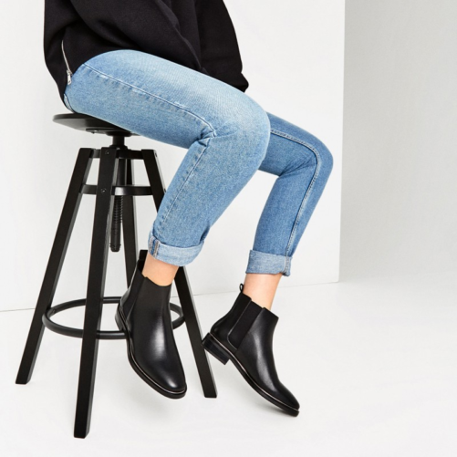women wearing that New York Style Leather Chelsea Boots