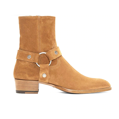 ring & strap western style chelsea boot in brown suede